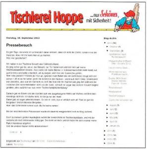 Kommunikation 2.0: Die Tischlerei Hoppe in Rinteln unterhält auf ihrer Website einen eigenen _Blog für Kunden und Interessierte, in dem insbesondere Tischlerfrau Bettina Luther immer wieder Amüsantes und Kurioses aus dem Berufsalltag berichtet.